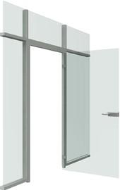 Распашная дверь стеклянная в алюминиевом каркасе с комплектующими