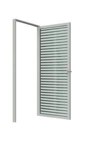 Распашная дверь стеклянная с жалюзи в алюминиевом каркасе с комплектующими