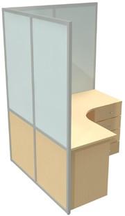 Мобильная перегородка комбинированная глухая с матовым закаленым стеклом