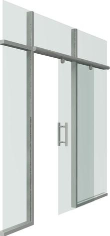 Раздвижная дверь цельностеклянная на алюминиевой направляющей, каретка и ручка в комплекте