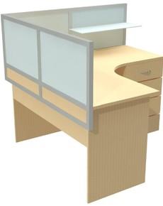 Настольный экран в алюминиевом профиле комбинированная глухая с матовым стеклом