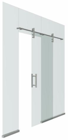 Цельностеклянная раздвижная дверь на точечных фиксаторах
