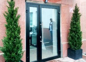 теплая входная группа в составе двустворчатой алюминиевой двери