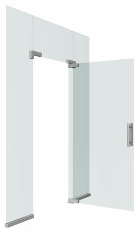 Цельностеклянная распашная дверь на точечных фиксаторах