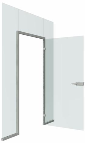 Цельностеклянная распашная дверь в алюминиевой коробке