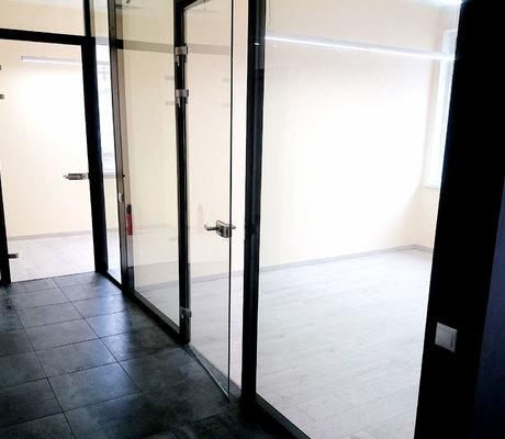 цельностеклянная распашная дверь